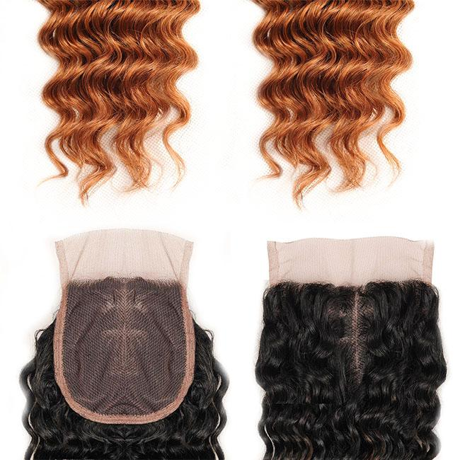 4 Bundles Peruvian Deep Wave Bundles , Blonde 100 Human Hair Curly Weave