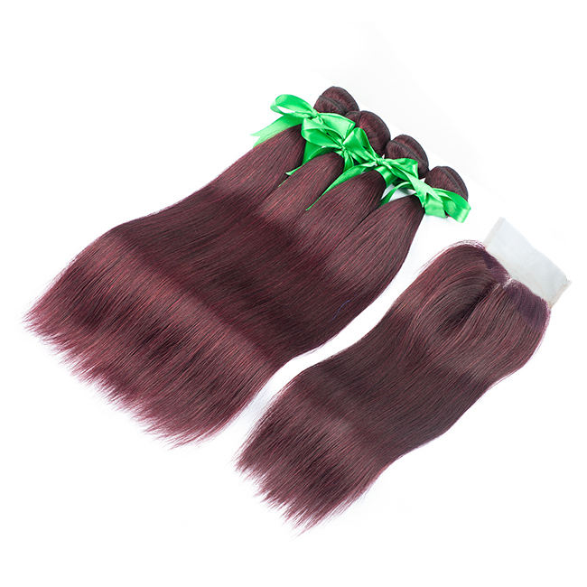 Tangle Free Peruvian Straight Human Hair / Remy Burgundy Human Hair Weave