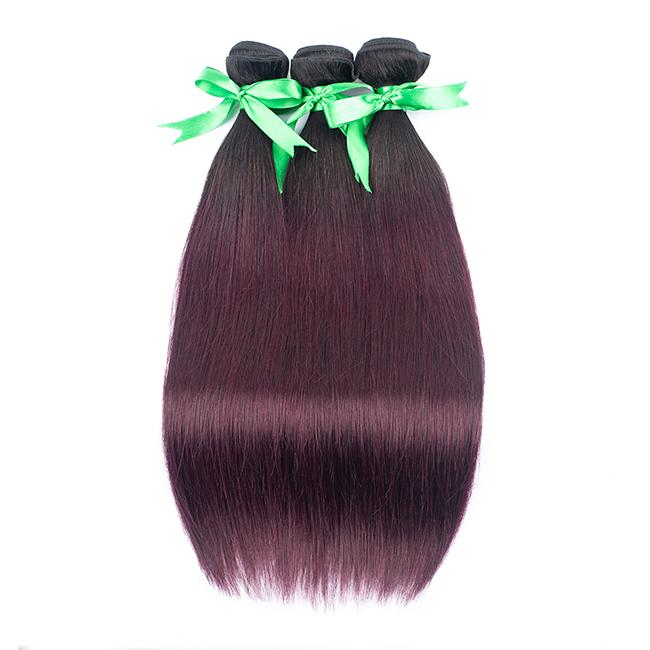 Human Hair Pieces For Longer 3 Bundles #1BBug Wine Red Color Hair Extension