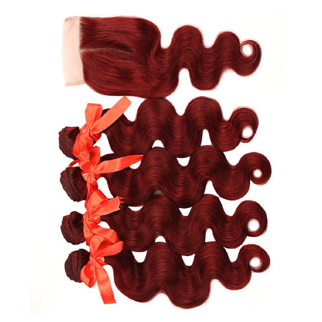 Extensions #99J Red Color Brazilian Body Wave Hair 4 Bundles With Closure