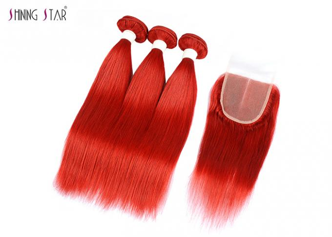 Brazilian Bright Red Straight Hair Bundles With Closure Can Be Dyed / Permed
