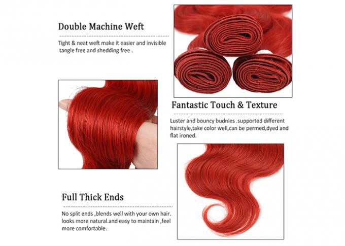 Vivid Red Wet Brazilian Human Hair Bundles With Closure For Women