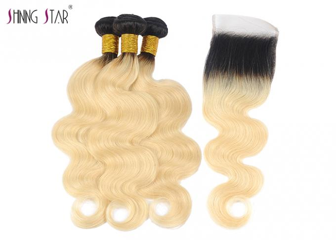"10"" - 30"" 1B 613 Honey Blonde Human Hair Bundles Unprocessed Brazilian Body Wave"