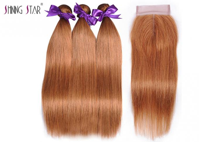Gold Blonde 100% Peruvian Straight Hair Bundles Colored 30 Double Weft Cheap