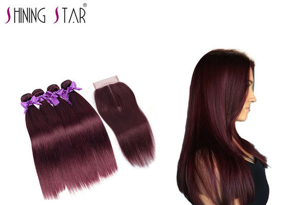 China Burgundy 4 Bundles Of Hair , Dark Wine Red Weave Bundles With Closure supplier