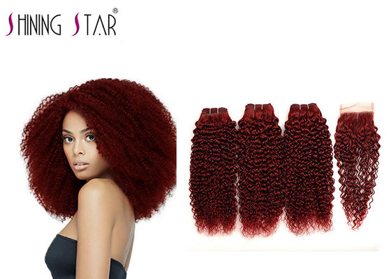 Remy Curly Hair Weave 99J Red Color Kinky Curly Human Hair Bundles With Closure