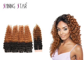 China 4 Bundles Peruvian Deep Wave Bundles , Blonde 100 Human Hair Curly Weave supplier