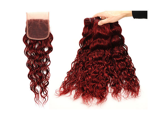Non Remy Water Wave Weave Human Hair / Red Water Wave Weave With Closure