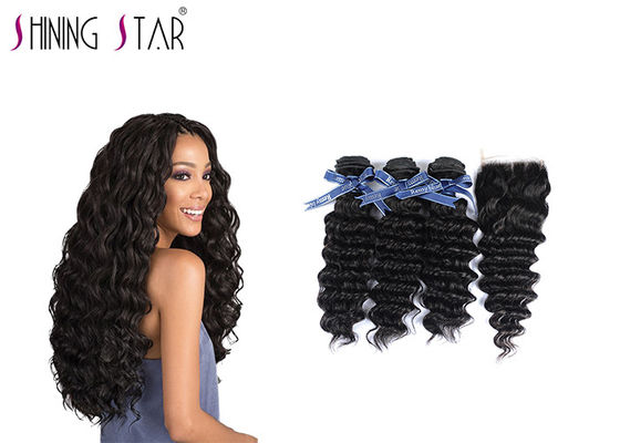 China Deep Curly Unprocessed Remy Hair Extensions Weave For Black Woman 350g supplier
