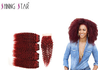 China 99J Red Malaysian Hair Bundles With Closure 100% Human Hair 8A Grade supplier