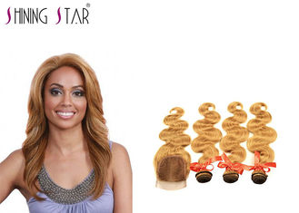 China Gold Blonde Body Curly Indian Hair Bundles Weave No Tangle Shedding Color 27 supplier