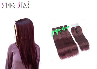 China Tangle Free Peruvian Straight Human Hair / Remy Burgundy Human Hair Weave supplier