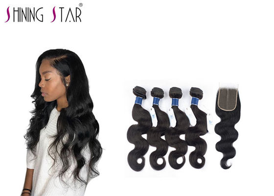 China Double Drawn Unprocessed Body Wave Human Hair Weave With Closure 10-26 Inch supplier