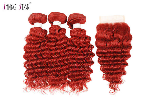 China Deep Wave Human Hair Bundles With Closure 99J Curly Weave Red Color supplier