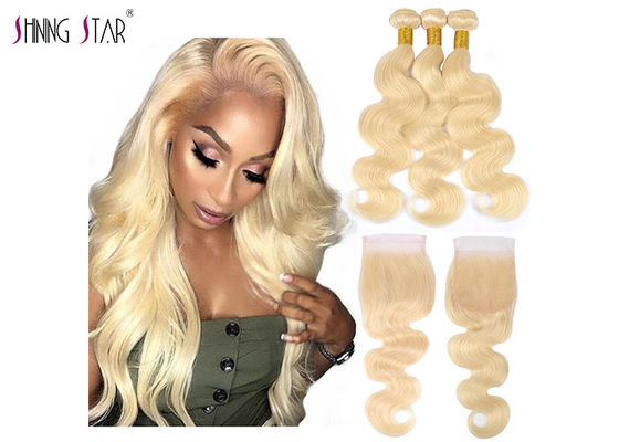"China Honey Blonde Body Wave 613 Bundles With Closure 100% Human Hair 10"" - 30"" supplier"