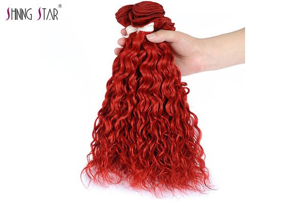 Red Burgundy Brazilian Water Wave Hair Extensions With Closure Curly Weaves No Tangle