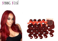 China Extensions #99J Red Color Brazilian Body Wave Hair 4 Bundles With Closure company