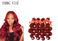 100 Peruvian Body Wave Human Hair 4 Bundles Extensions #99J Red Color