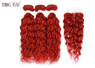 China Brazilian Red Water Wave Bundles / Hair Extensions Bundles Natural Wavy factory