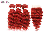 China Deep Wave Human Hair Bundles With Closure 99J Curly Weave Red Color factory