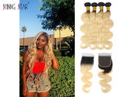China 1B 613 Honey Blonde Bundles With Closure Dark Roots Body Wave Colored Bundles factory