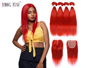 Red Brazilian Straight Hair Bundles With Closure Colored 99J Burgundy Bundles