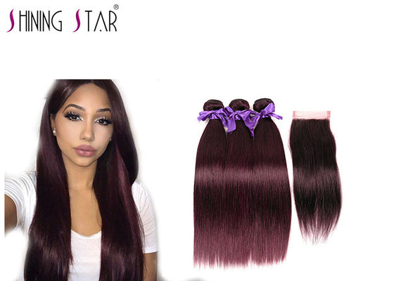 China Unprocessed Straight Bundles With Closure / Comfortable Human Hair Extension Bundles distributor