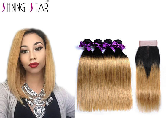 China Brazilian Weave Bundlles 4Pcs Ombre Blonde Straight Human Hair With Closure Color 1B27 Hair Weave​ distributor