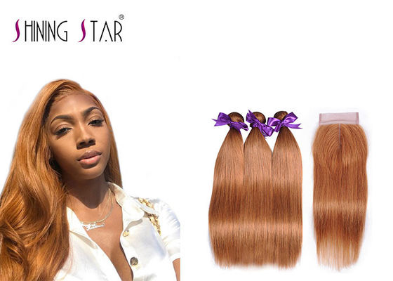 China Gold Blonde 100% Peruvian Straight Hair Bundles Colored 30 Double Weft Cheap distributor