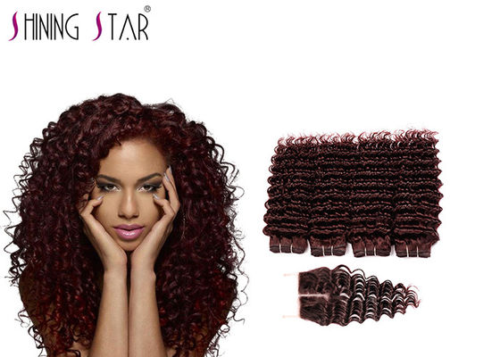 China Soft Unprocessed Brazilian Hair Bundles / Burgundy Brazilian Virgin Remy Hair Deep Wave distributor