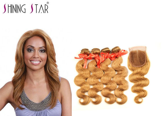 China Human Hair 4 Bundles With Closure 27 Blonde Brazilian Straight Hair Weave distributor