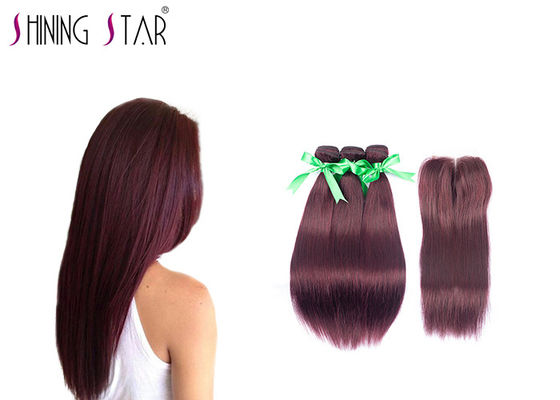 China Nice Shine Peruvian Hair Bundles With Silk Closure Chemical Acid Processing factory