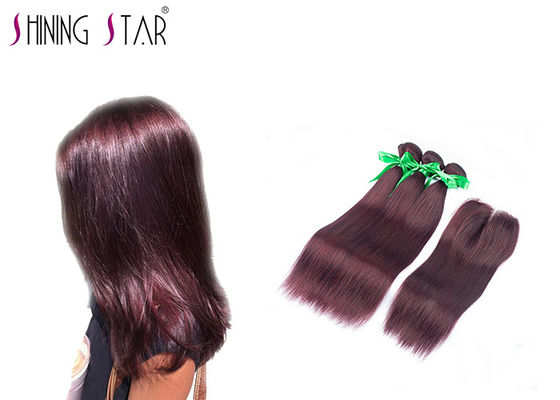 China Burgundy Virgin Indian Remy Hair Bundles / Soft 3 Bundles Of Indian Hair distributor
