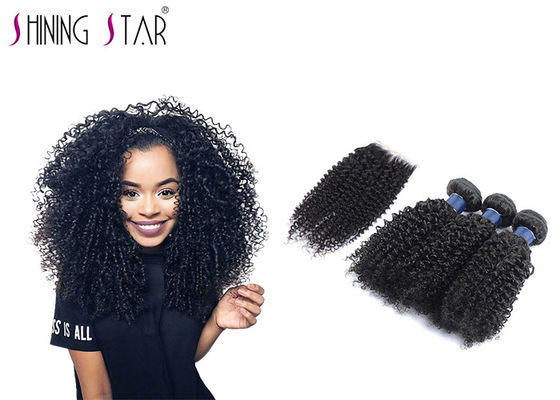 China Natural Black Kinky Curly Malaysian Hair Bundles With Lace Closure No Heeding distributor