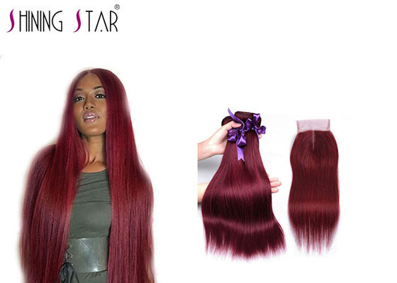 China Red Burgundy Brazilian Hair Bundles Weave For Beautiful Woman Color Optional distributor