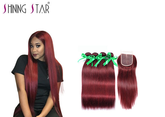 China Unprocessed 4 Human Peruvian Hair Bundles Extensions 99# Red 8A Grade factory