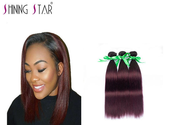 China Virgin Peruvian Straight Hair Bundles 3 Bundles Burgundy Color No Tangling distributor