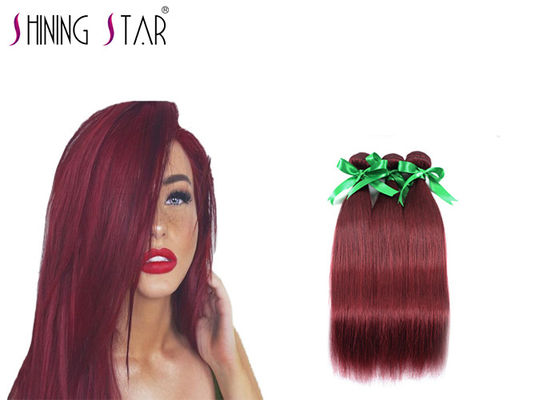 China Peruvian Straight Hair Bundles 3 Bundles Extensions Red Color Chemical Free distributor