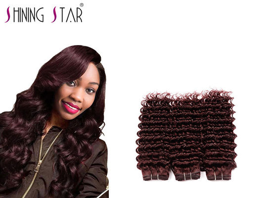 China Burgundy Deep Wave Human Hair Weave , Long Deep Wave Virgin Hair With Closure distributor