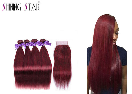 China Swiss Lace Girls And Ladies Red Hair Extensions / Straight Weave With Closure distributor