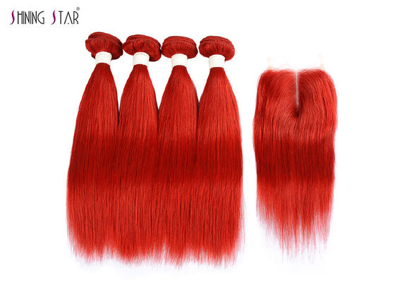 China Brazilian Bright Red Straight Hair Bundles With Closure Can Be Dyed / Permed distributor