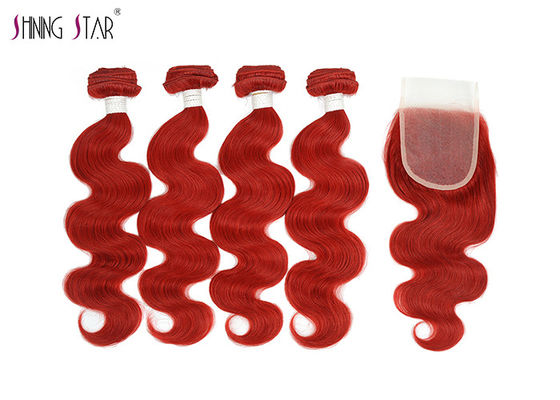 China Vivid Red Wet Brazilian Human Hair Bundles With Closure For Women distributor