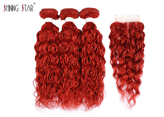 China Brazilian Red Water Wave Bundles / Hair Extensions Bundles Natural Wavy distributor