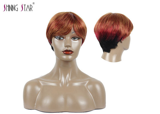 China Red Colored Short Bob Wigs With Bangs Straight Human Hair Lace Front Wig distributor