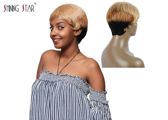 China Straight Short Hair Wigs Colored 1B 27 30 Blonde Human Hair Wigs With Bang distributor
