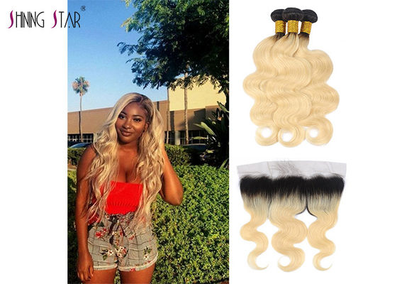 China Honey Blonde 613 Hair Indian Hair Bundles With Frontal Body Wave Texture distributor