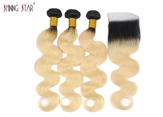 "China 10"" - 30"" 1B 613 Honey Blonde Human Hair Bundles Unprocessed Brazilian Body Wave distributor"