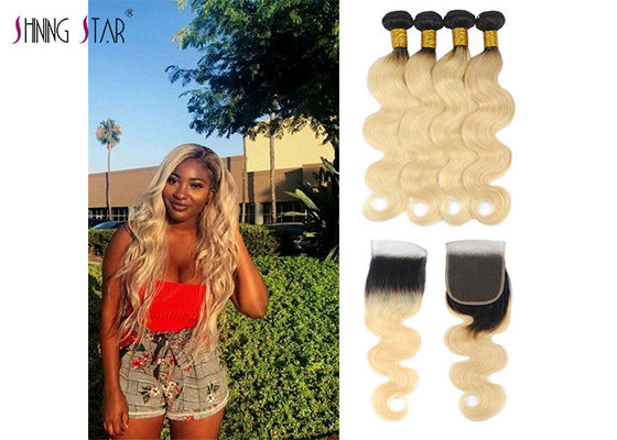 China 1B 613 Honey Blonde Bundles With Closure Dark Roots Body Wave Colored Bundles distributor