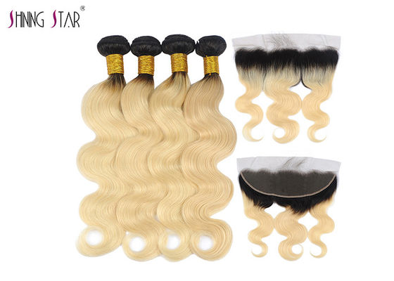 China Long Body Wave Malaysian Hair Bundles 613 Ombre Blonde Bundles With Closure distributor