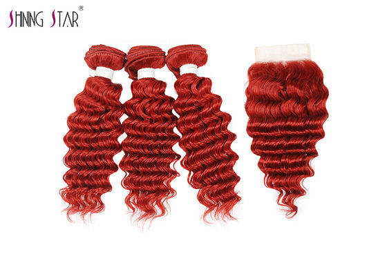 China Red Brazilian Deep Wave Bundles With Closure 10 Inch - 26 Inch ODM / OEM distributor